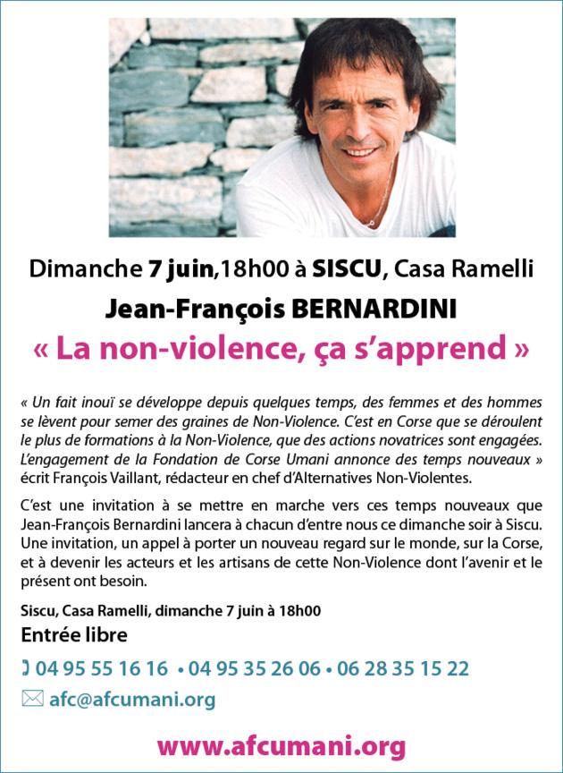 "Jean-François Bernardini dimanche à Siso : ""La non-violence, ça s'apprend"""