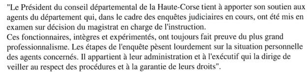 Mise en examen de 3 agents de Haute-Corse : Le soutien de François Orlandi