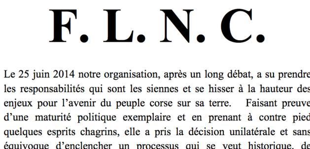 """FLNC : """"La lutte de notre peuple va se poursuivre dans un cadre désormais public, populaire et démocratique"""""""