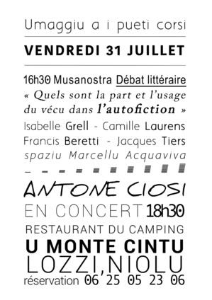 Antoine Ciosi rend hommage aux poètes de Lozzi le 31 Juillet