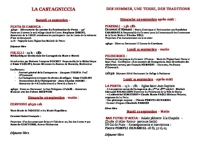 La 9eme Consulte du comité des Corses de l'exterieur et du RHFC en Castagniccia 19 au 22 Septembre