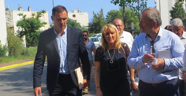Gilles Simeoni, maire de Bastia, Emmanuelle De Gentili, 1ère adjointe chargée de l'urbanisme, et François Pupponi, président de l'ANRU.