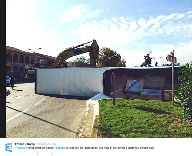 Biguglia : Collision entre un bus et un poids lourd qui se renverse. Un blessé  et un énorme embouteillage