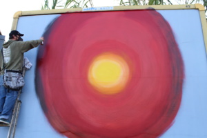 9H. L'oeuvre de Yann le Borgne prend forme. Crédit photo : LS