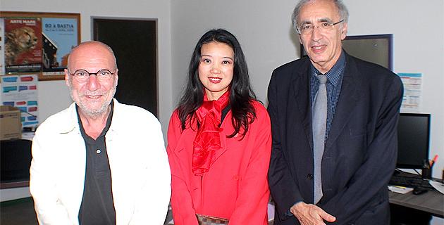Marc Leccia, proviseur du lycée Giocante, Xin Devichi et Joël Bellasen