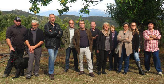 Dominique Sialelli, PDG de la Brasserie Pietra, entouré des représentants de la filière castanéicole, sur l'exploitation de Ludovic Biaggi à Murato.