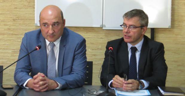 Nicolas Bessone, procureur de la République de Bastia, et Alain Thirion, Préfet de Haute-Corse.