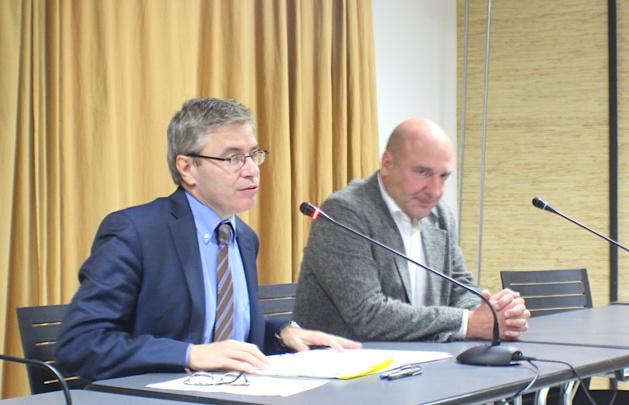 Alain Thirion, le préfet de Haute-Corse, et Nicolas Bessone, procureur de la République