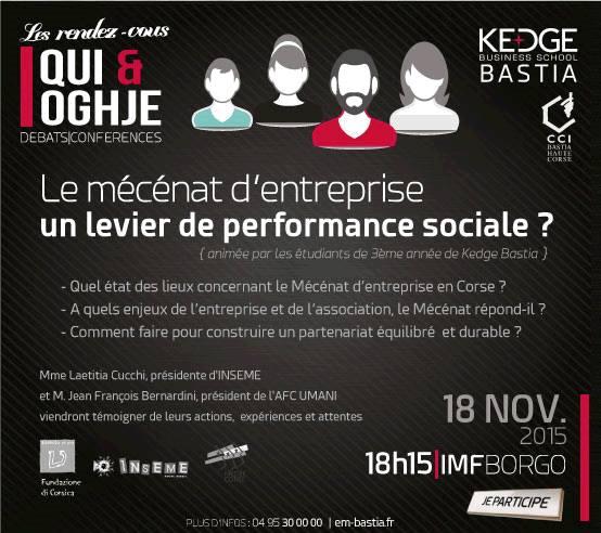 Kedge Bastia ; Le Mécénat d'entreprise, un levier de performance sociale ?