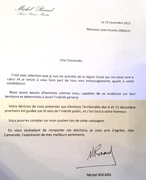 La lettre de soutien de Michel Rocard adressée à Jean-Charles Orsucci