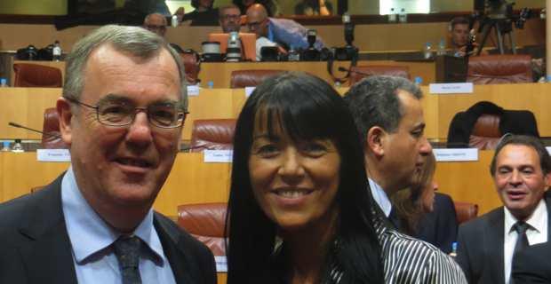 Paul-Marie Bartoli avec une autre de ses colistières, Delphine Orsoni. Photo C. Andreani.