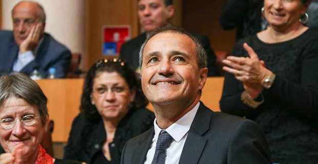 La joie du leader indépendantiste, Jean-Guy Talamoni, venant d'être élu président de l'Assemblée de Corse. Photo Marcu Antone Costa.