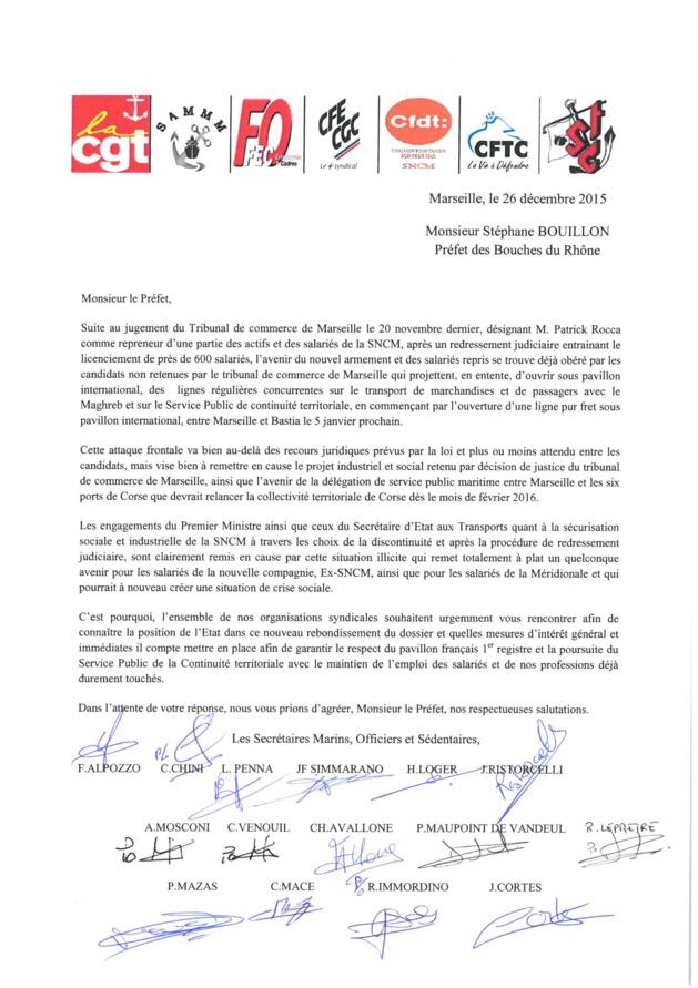 Desserte maritime : Les syndicats de la CMN et de la SNCM écrivent à l'Etat