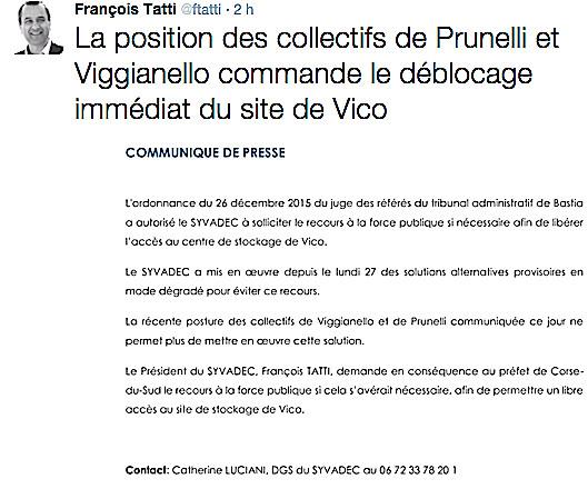 Déchets : François Tatti demande le recours à la force publique pour le libre accès à Vico