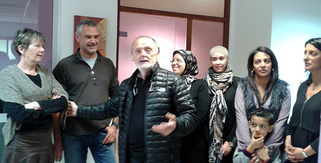Ghjiseppu Maestrcci ( au centre) lors de l'inauguration des locaux d'Avà Basta à Ajaccio