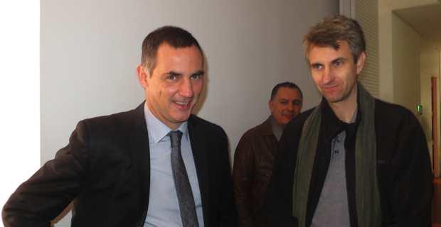 Le président de l'Exécutif de la Corse, Gilles Simeoni, et le secrétaire général de la CGT-Marins, Frédéric Alpozzo.