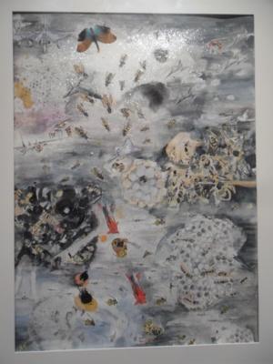 Hyménoptères, technique mixte sur papier, avec inclusion d'insectes, de papillons...