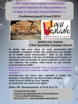 Conférence de Toussaint Corticchiato le 14 Avril, à Ajaccio