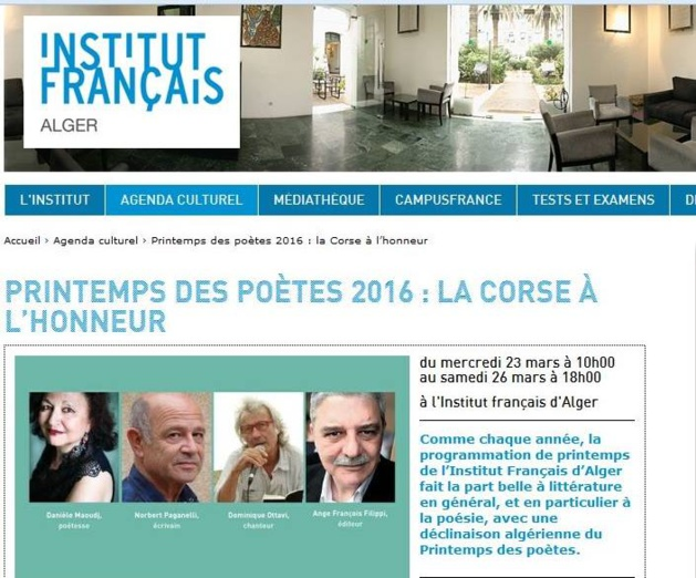 Printemps des Poètes : La Corse à l'honneur en Algérie