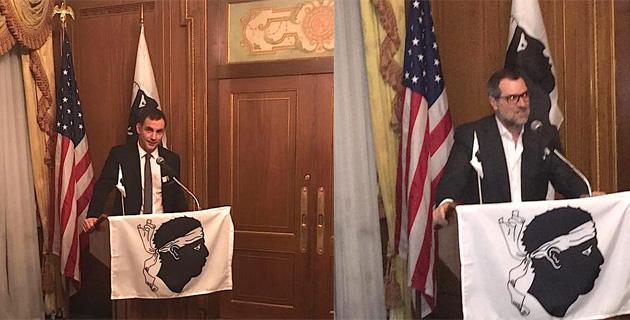 Gilles Simeoni et Patrick Ottomaini, président de l'association des Corses des Etats-Unis