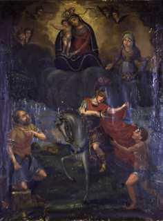 La charité de saint Martin, tableau d'autel des vignerons de Terra Nova, Cathédrale Ste Marie à Bastia. Photo Christian Andreani.