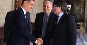 Gilles Simeoni, Francois Alfonsi, Carles Puigdemont.