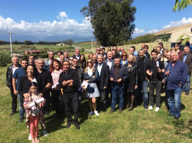 Les gagnants 2016 autour de Joseph Colombani président de la chambre régionale et Jean-Marc Venturi, vice-président de la chambre d'agriculture de Haute-Corse
