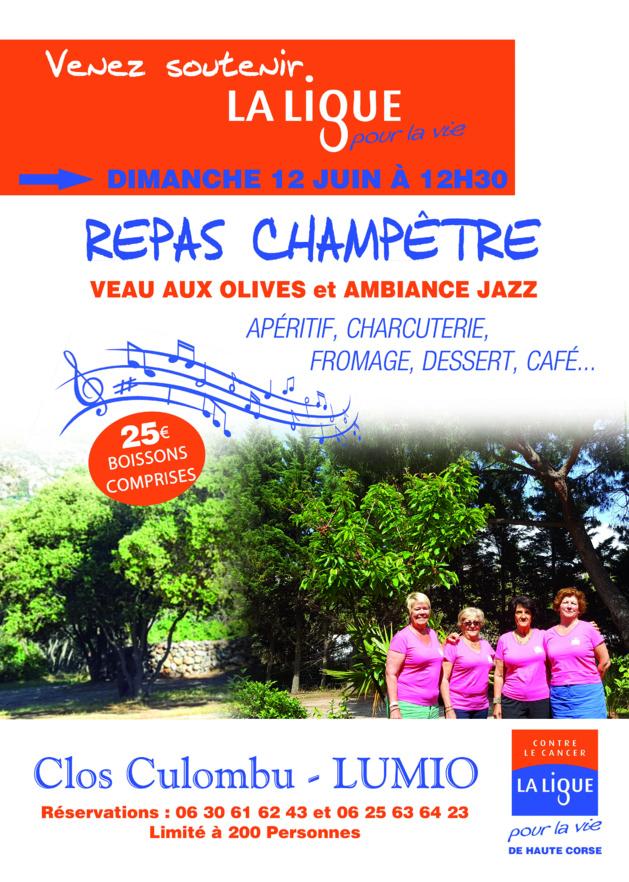 Repas champêtre au profit de la Ligue contre le cancer le 12 juin à Lumio