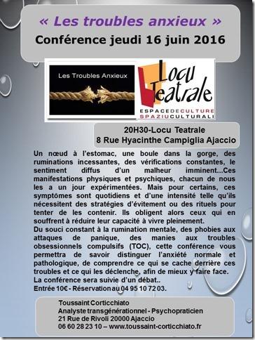"""Nouvelle conférence de Toussaint Corticchiato """"Les troubles anxieux"""""""