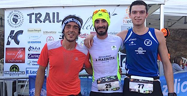 De gauche à droite : Jean-François Hautin, Anthony Quilici et Alexis Moulard (Photo © Trail d'Oletta)