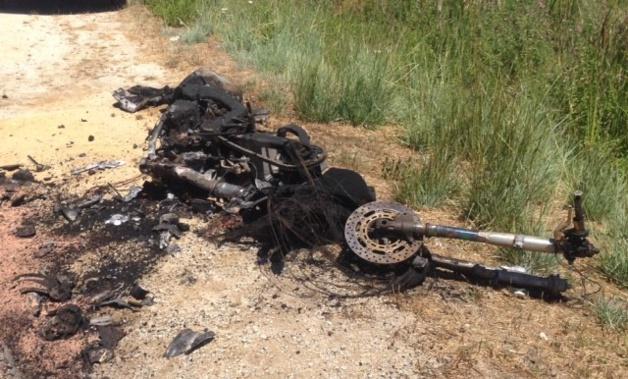 La moto s'est enflammée après le choc