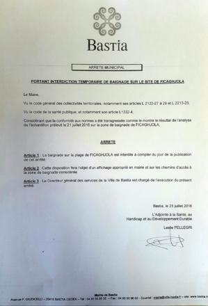 Bastia : Interdiction baignade à la plage de Ficaghjola