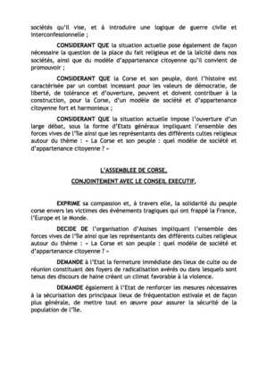 Assemblée de Corse : Une résolution prioritaire sur la sécurité publique et l'intégrisme islamique
