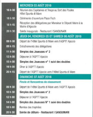 Programme du tournoi