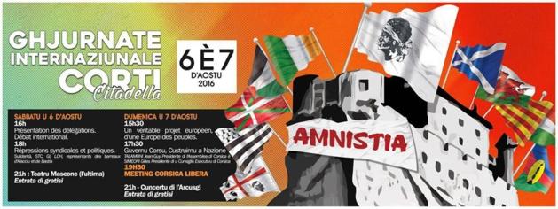 Ghjurnate Internaziunale : Accueil symbolique des délégations invitées à l'Assemblée de Corse.