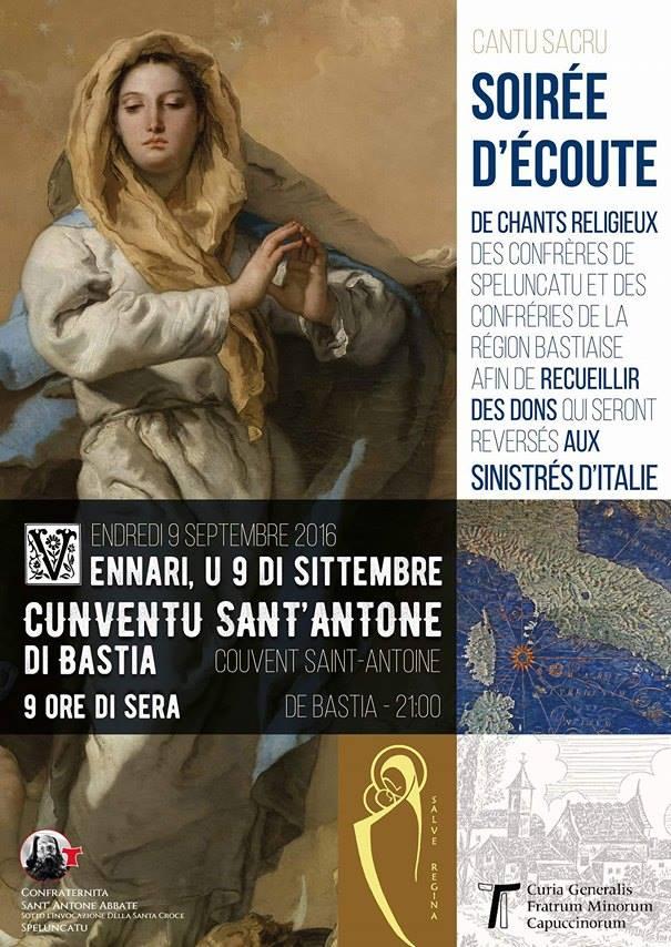 Bastia : Soirée de soutien aux sinistrés italiens au couvent Saint-Antoine