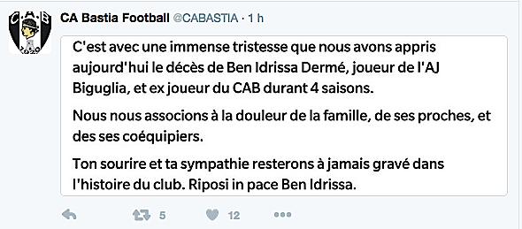 Ben Idrissa Dermé (AJ Biguglia) : La mort sur un terrain de foot