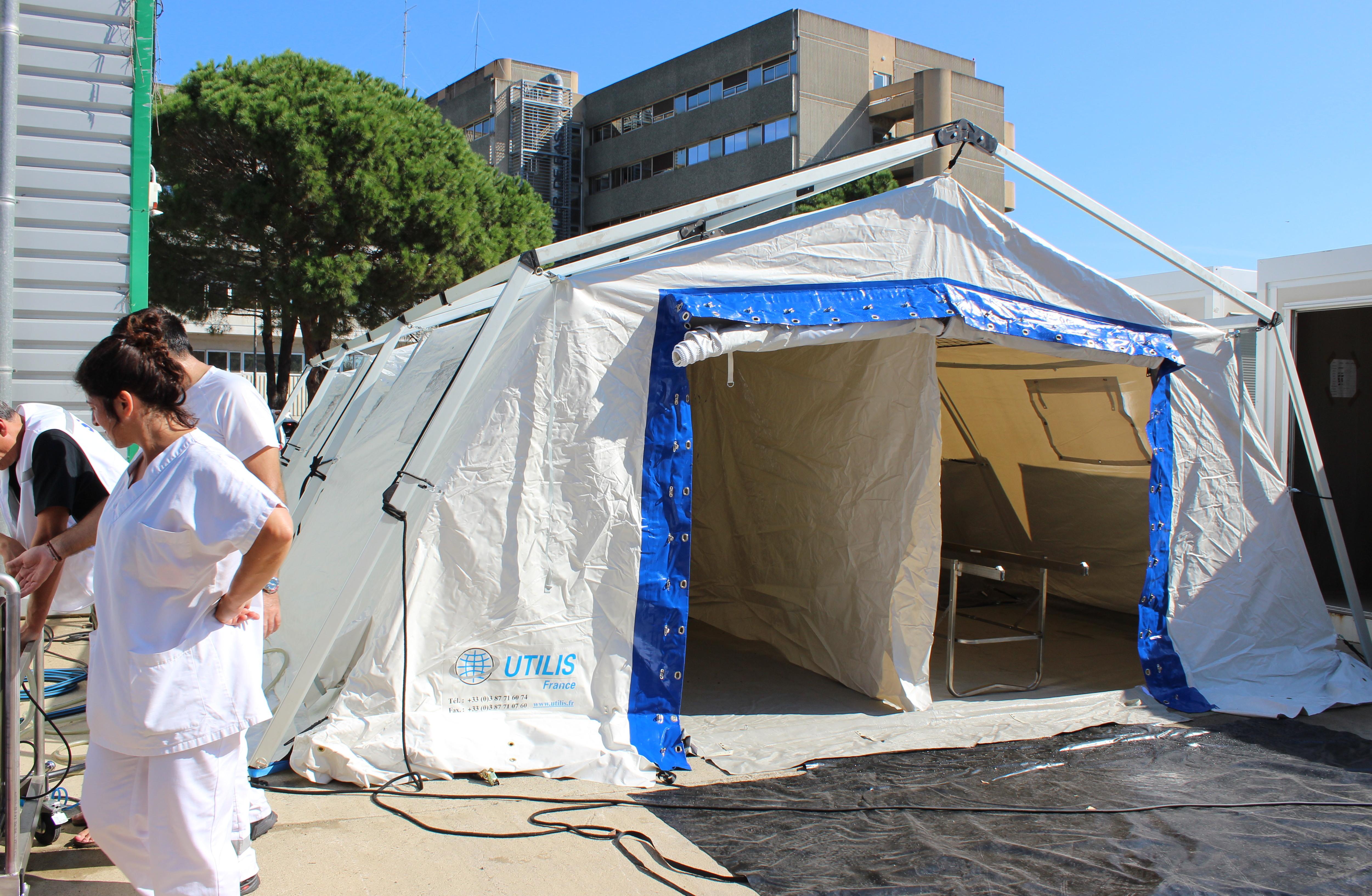 Hôpital de Bastia : Exercice préparatoire à l'utilisation du matériel de secours dans le cadre de situations exceptionnelles