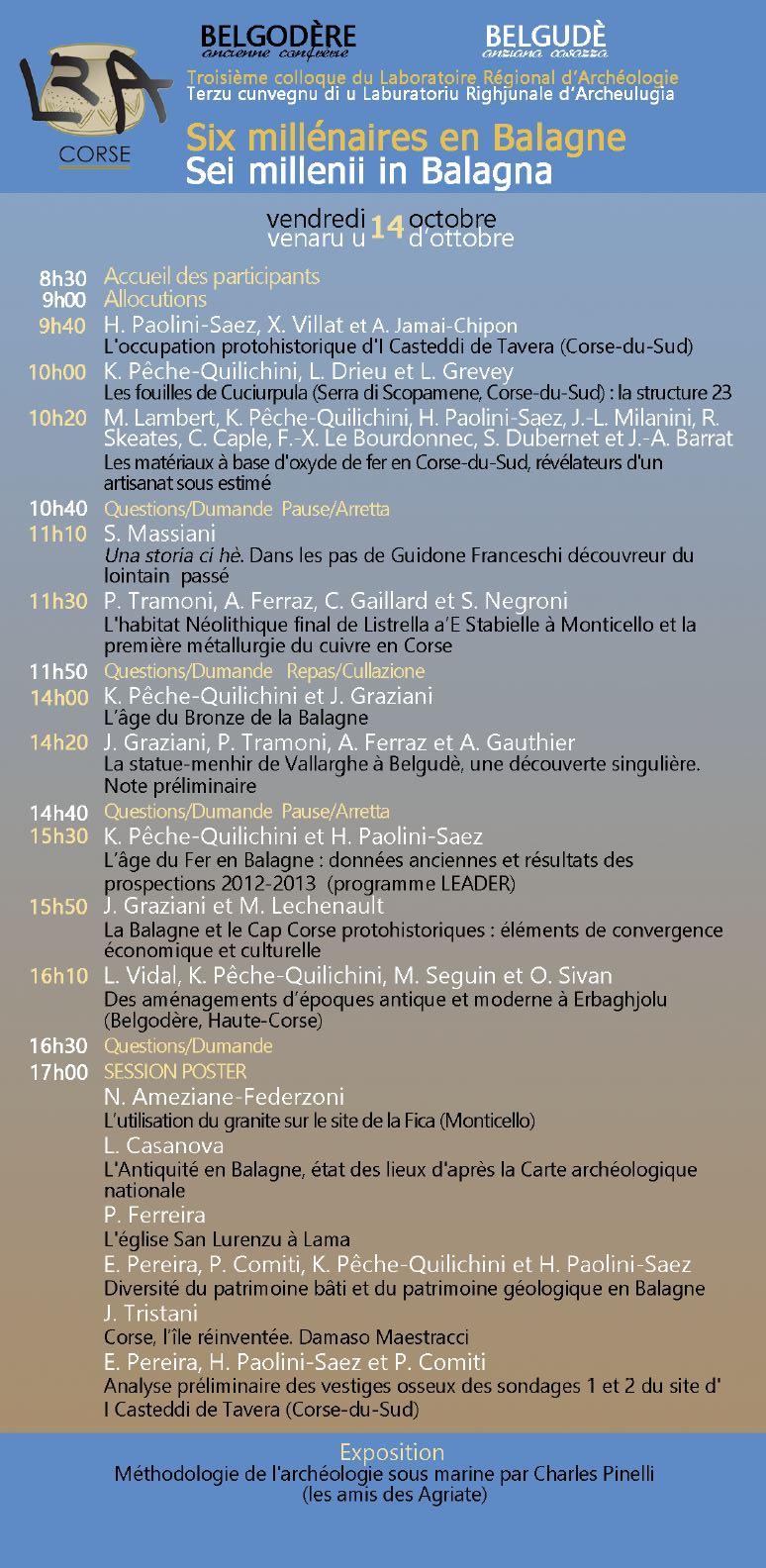 3e colloque du Laboratoire régional d'archéologie du 14 au 16 octobre à Belgodère