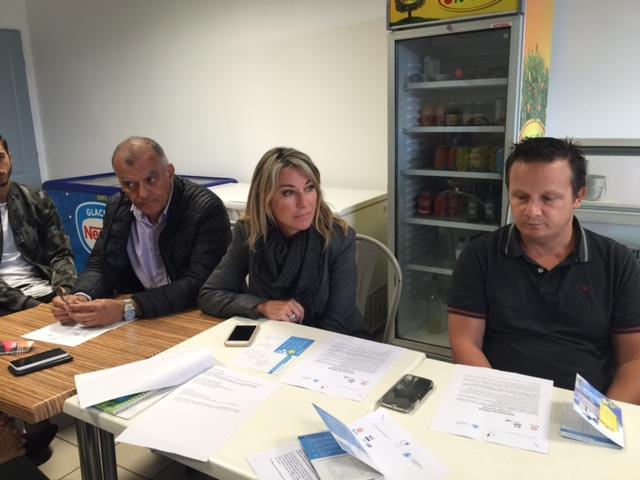 Patrick Sanguinetti, président de la commission commerce à la CCI, Linda Piperi, adjointe au maire de Bastia et Cédric Buldo, président de l'Union commerciale Saint-Exupéry et gérant de Phant'Asia