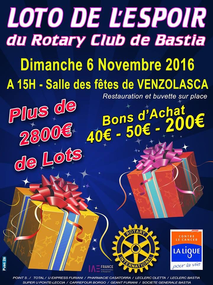 Rotary Club de Bastia : Loto de l'Espoir à Venzolasca