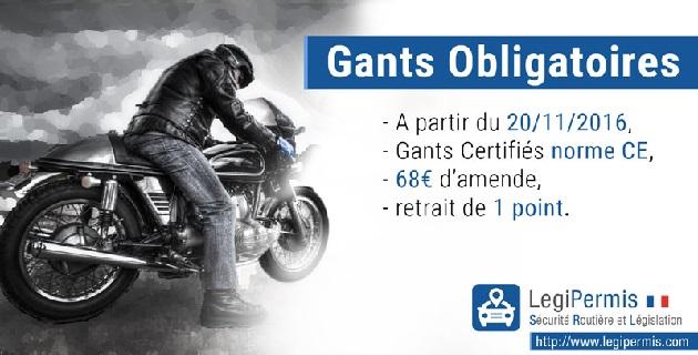 À moto ou en scooter, le port des gants devient obligatoire dès le 20 novembre