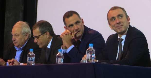 Le maire de Furiani, Pierre-Michel Simonpietri, le président de l'Assemblée de Corse Jean-Guy Talamoni, le président du Conseil exécutif Gilles Simeoni, et le conseiller exécutif et président de l'ADEC, Jean-Christophe Angelini.