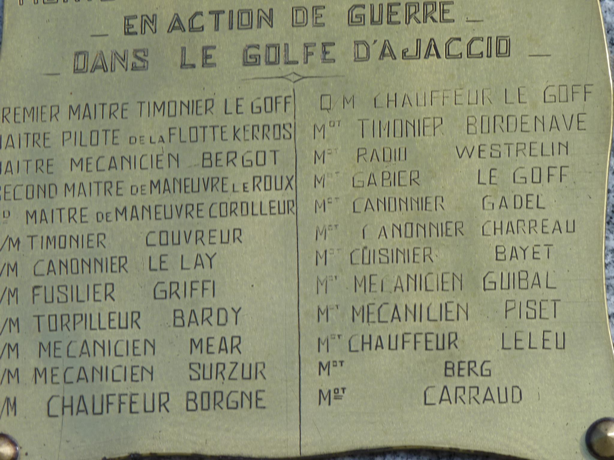 Base Navale d'Aspretto : L'hommage aux marins de la « Marie Mad »