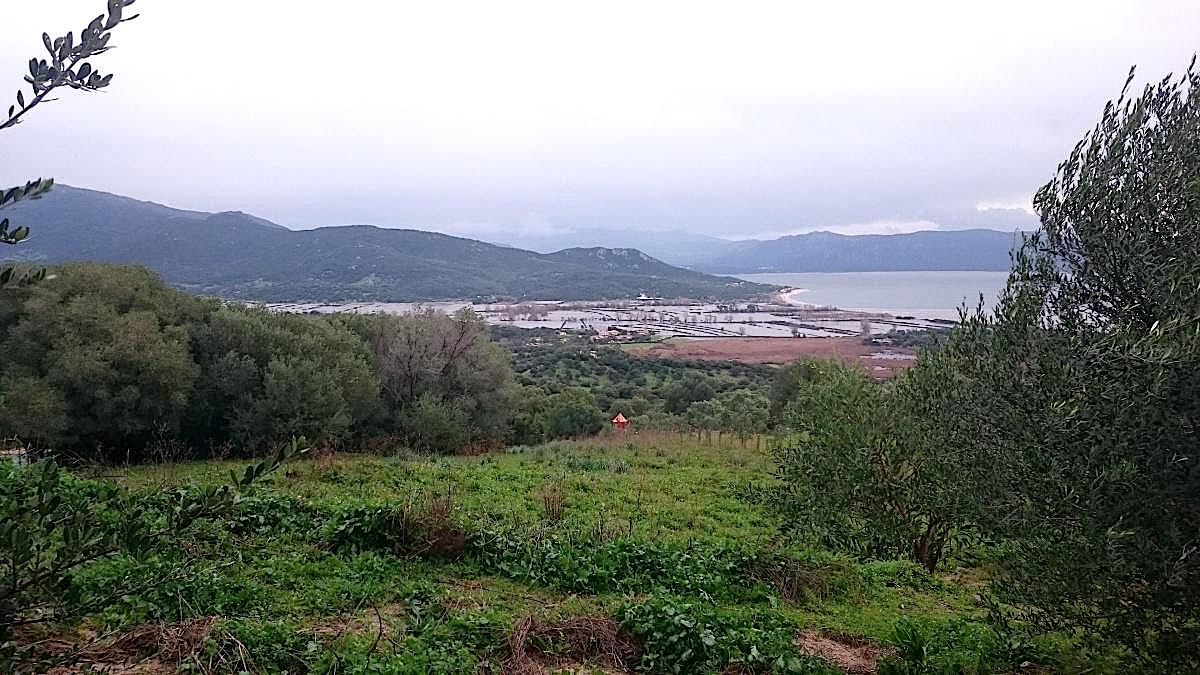 L'embouchure du Taravu vue de Serra-di-Ferro peu après 9 heures :  Le pont de Caitucoli est fermé