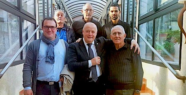 Les délégués de la Ligue à l'Assemblée Générale de la FFT du 18 février 2017 : La Liste France-Tennis représentée par les titulaires : Philippe  Medori, Bernard Giudicelli et Albert Ghione (en bas) et leurs suppléants : José Simoni, Jean Gour et Anthony Zaru