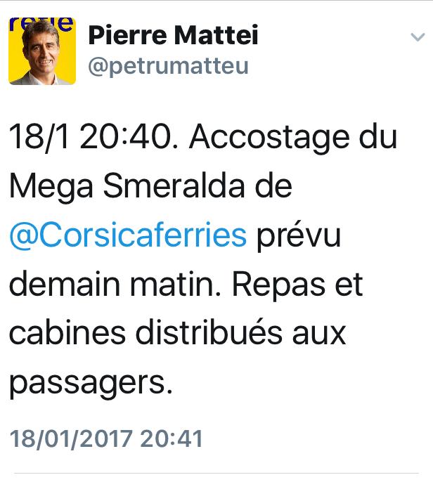 Parti de Toulon Mardi, le Mega Smeralda accostera jeudi à Bastia