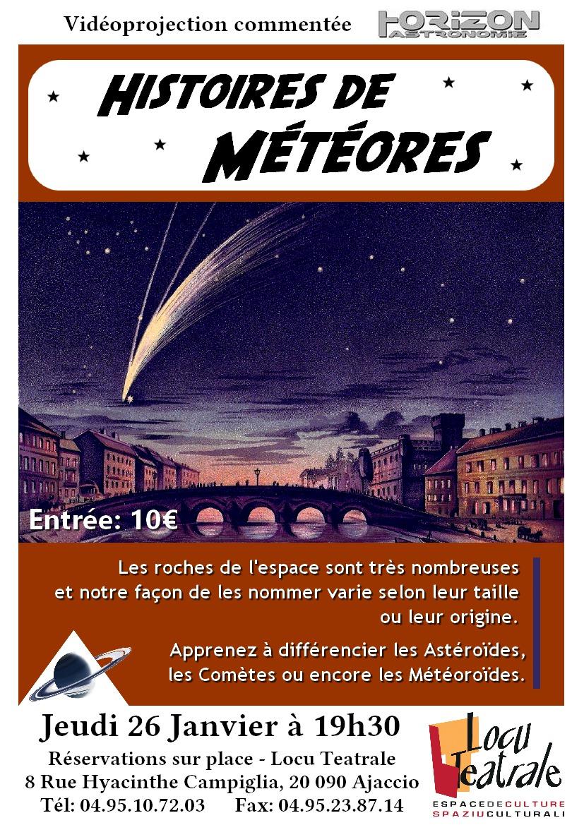 Ajaccio : Vidéoprojection  commentée  « Histoires de météores »