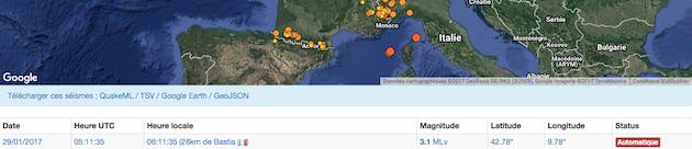 Un séisme de magnitude de 3,1 sur l'échelle de Richter  entre Bastia et l'Ile d'Elbe