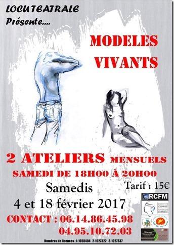 Les samedis 4 et 18 février 2017 À Locu Teatrale ateliers de dessin d'après Modèles Vivants,